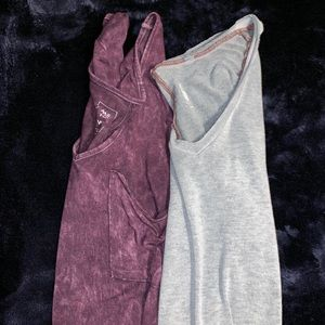 Pair of Oversized Cotton Vnecks